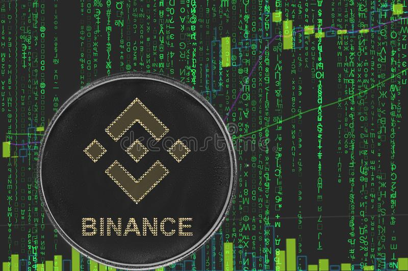 Coin  binance bnb cryptocurrency on the background of binary crypto matrix text and price chart. Token bnb binance  cryptocurrency on the green matrix royalty free stock photos