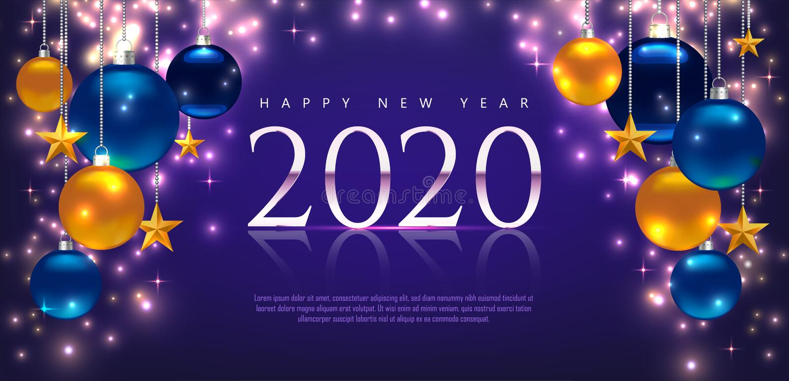 Magic template with greeting Happy New Year 2020. Template for Card, Flyer, poster, invitation, banner. Promotion or shopping. Template. Illustration with balls stock photos